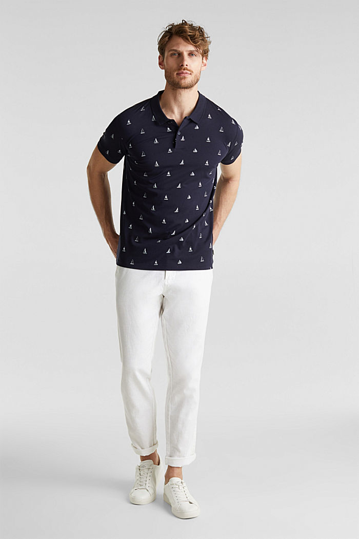 Jersey polo shirt in 100% cotton, NAVY, detail image number 2