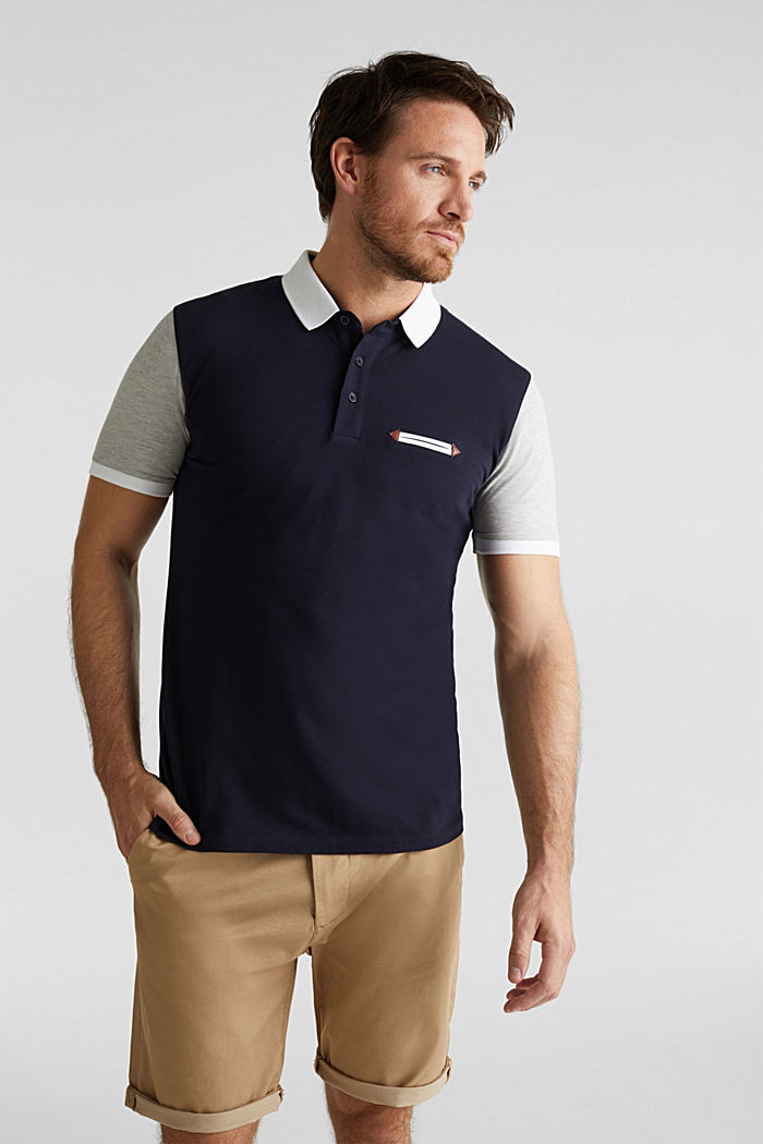 Piqué polo shirt with organic cotton, NAVY, detail image number 0
