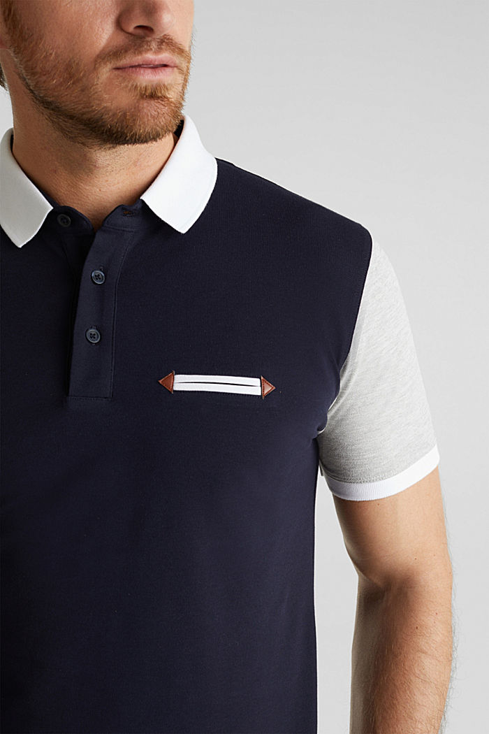 Piqué polo shirt with organic cotton, NAVY, detail image number 1