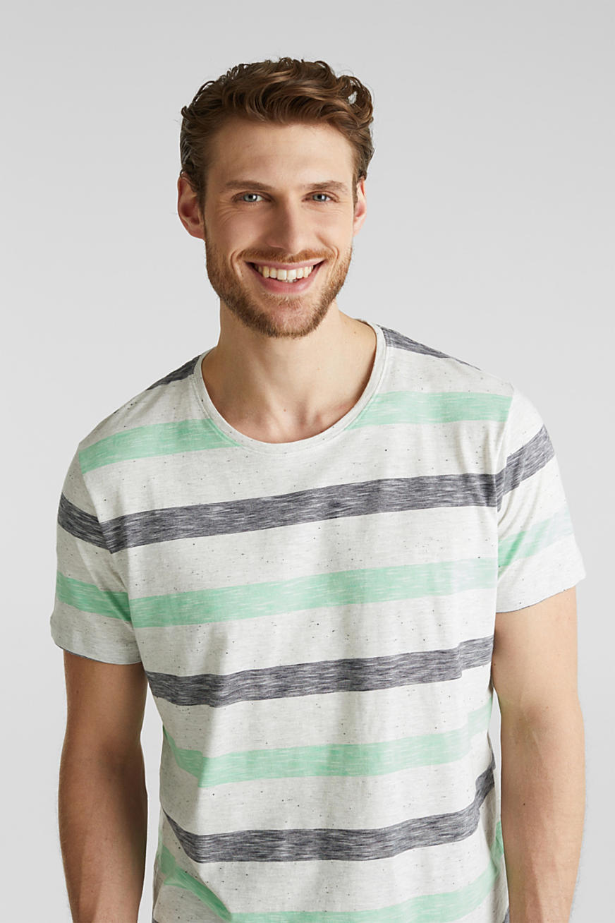 Jersey top with dimples and stripes