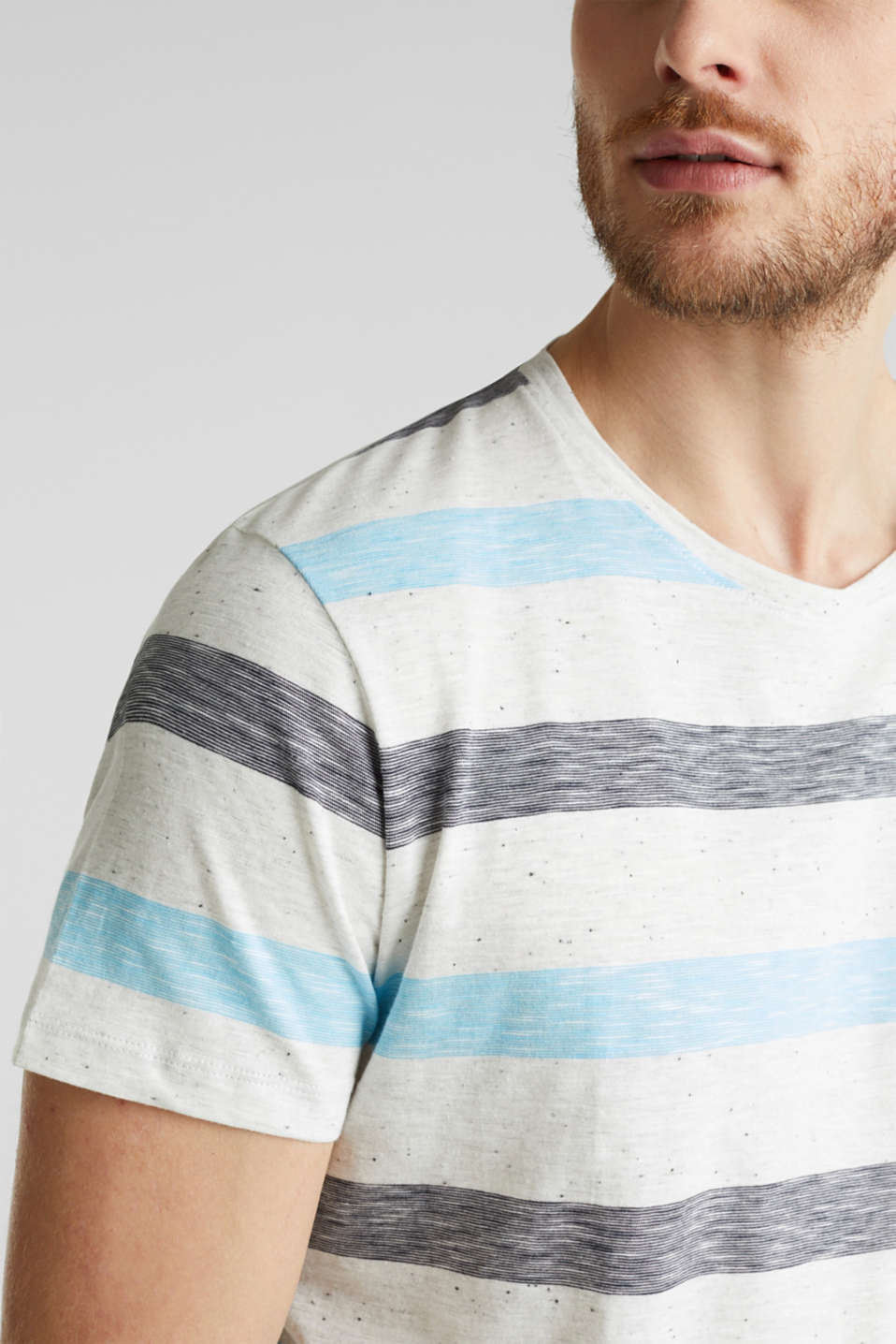 Jersey top with dimples and stripes, NAVY 3, detail image number 1