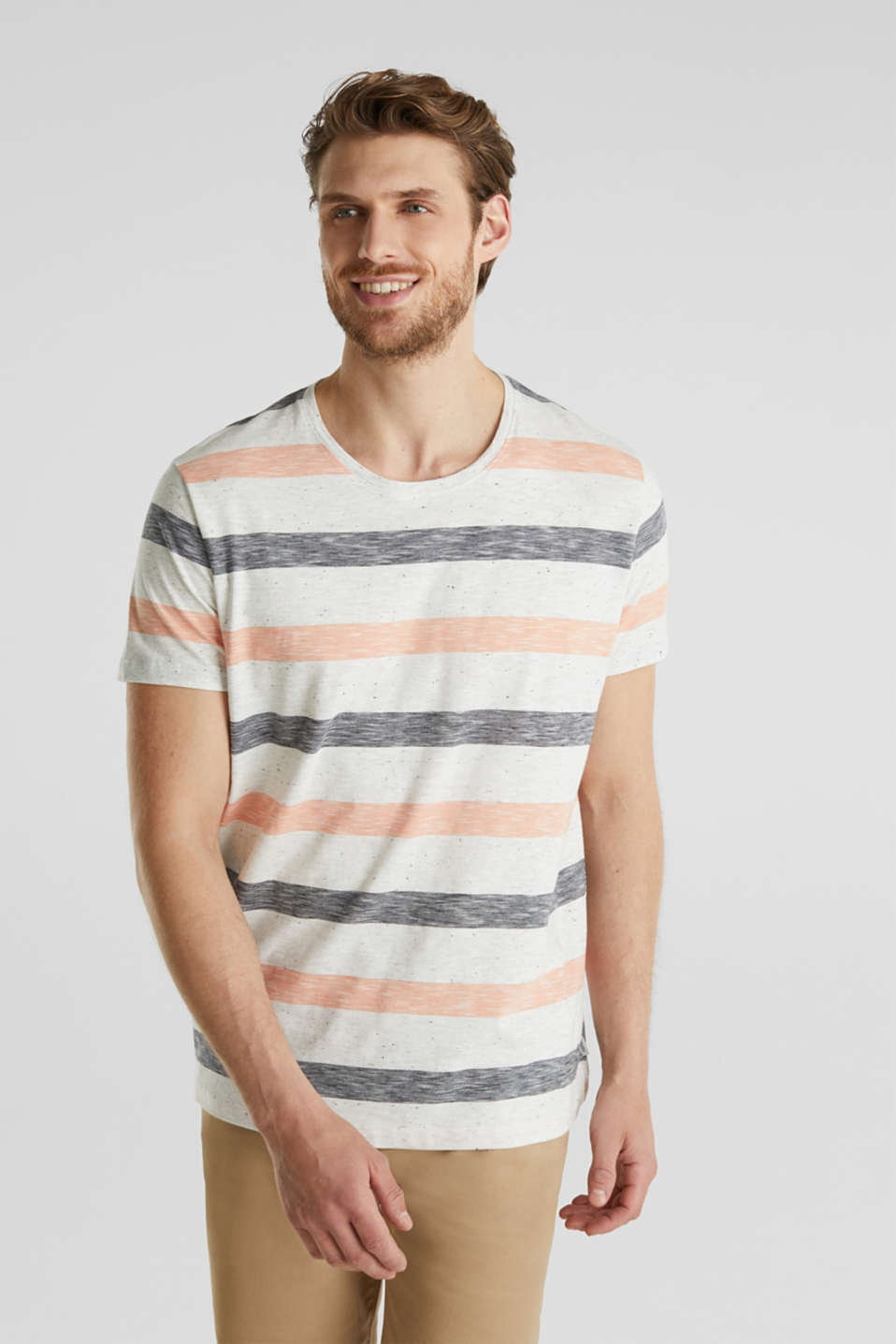 Jersey top with dimples and stripes, ORANGE 3, detail image number 4