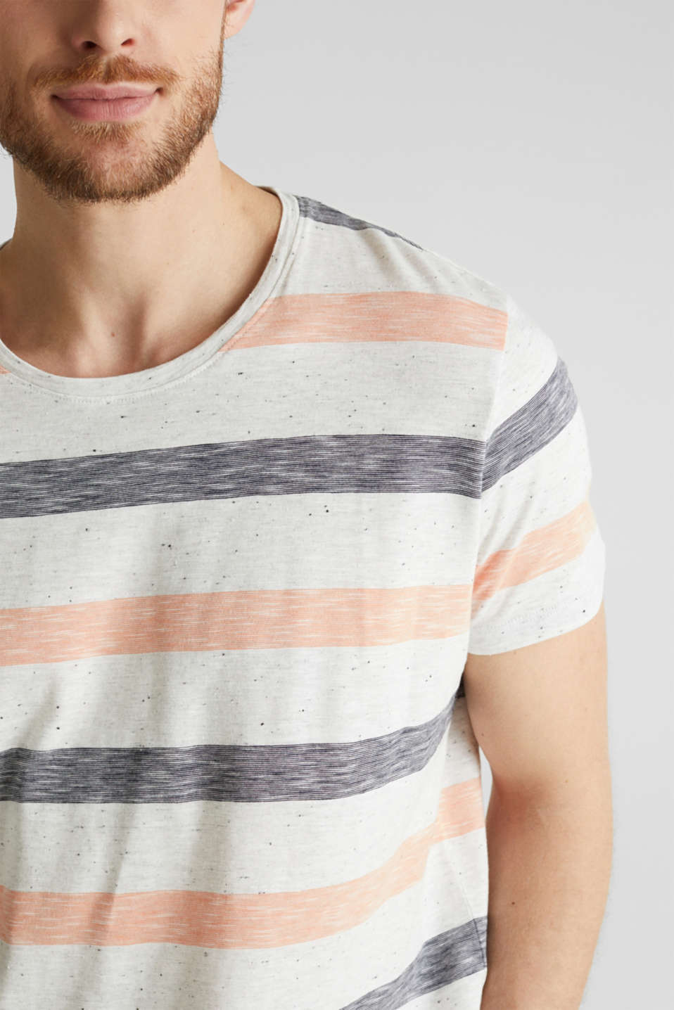 Jersey top with dimples and stripes, ORANGE 3, detail image number 1