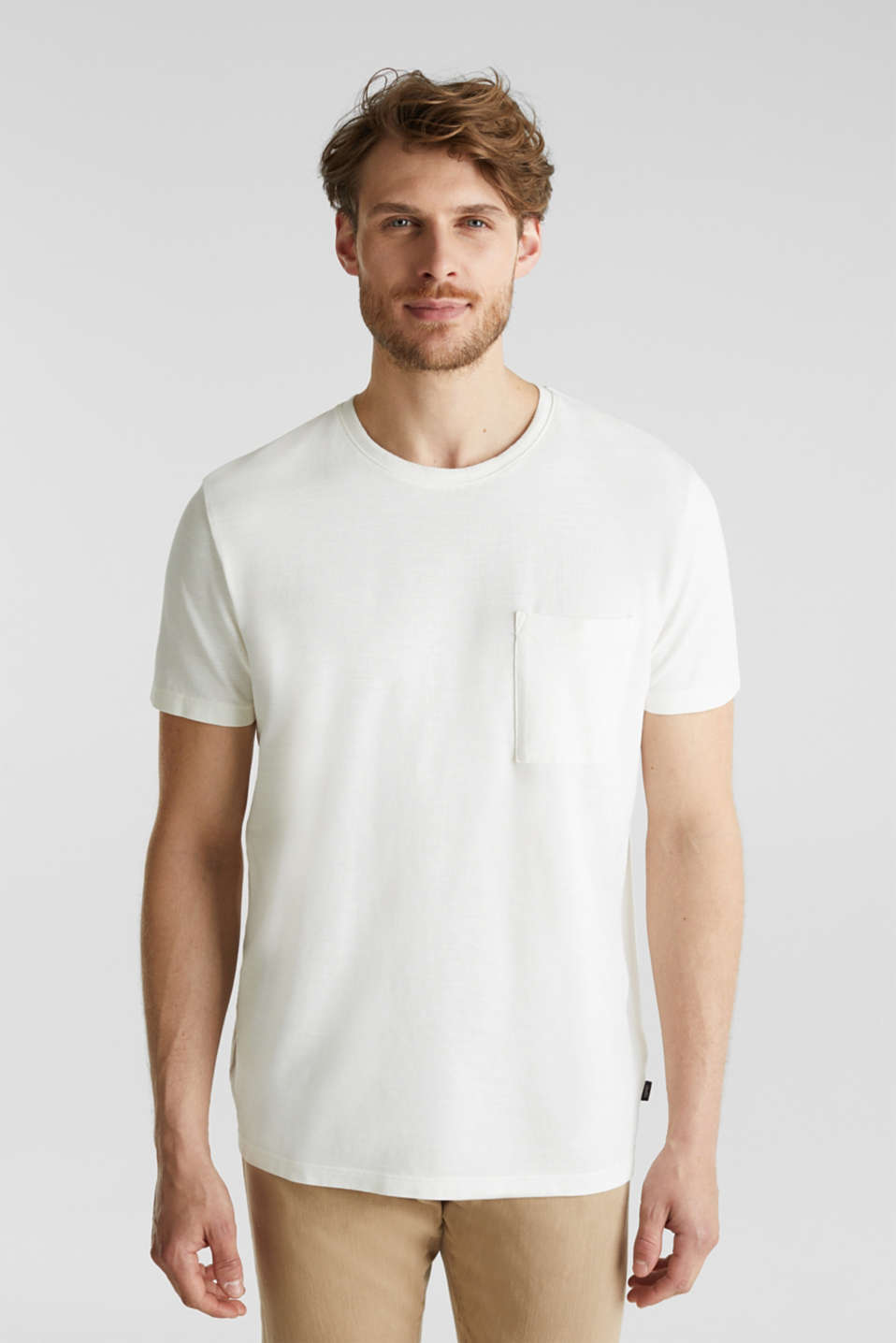 ARCHROMA piqué T-shirt, 100% organic cotton, OFF WHITE 2, detail image number 0