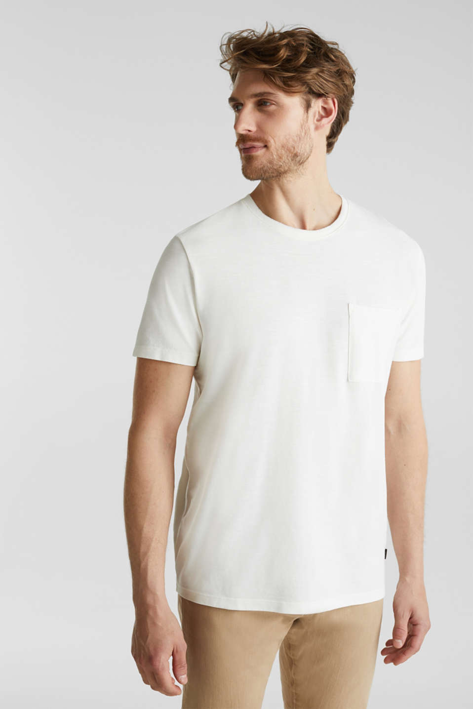 ARCHROMA piqué T-shirt, 100% organic cotton, OFF WHITE 2, detail image number 4
