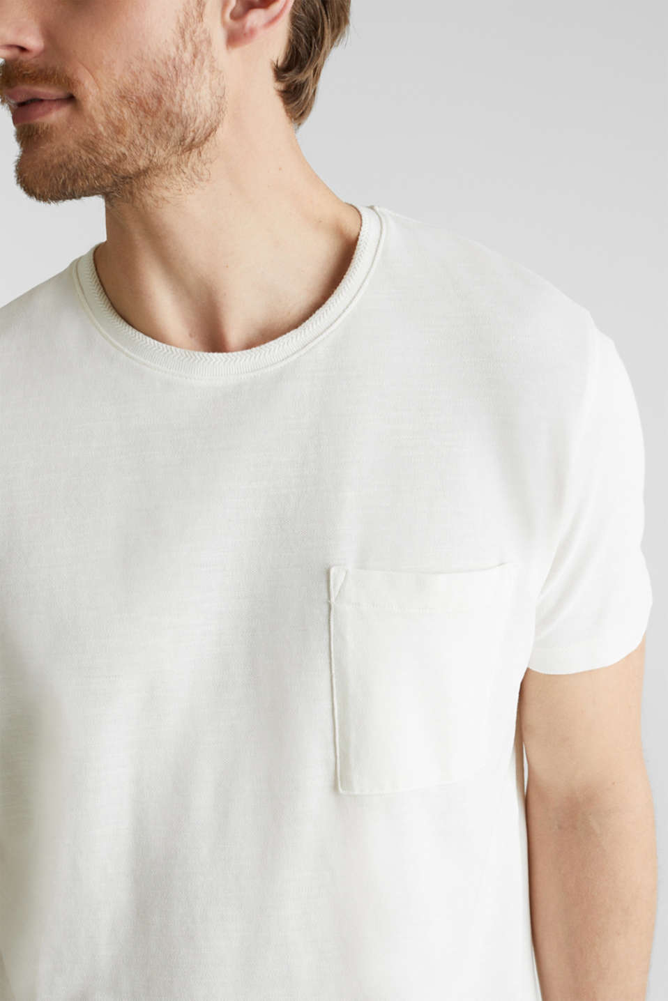 ARCHROMA piqué T-shirt, 100% organic cotton, OFF WHITE 2, detail image number 1