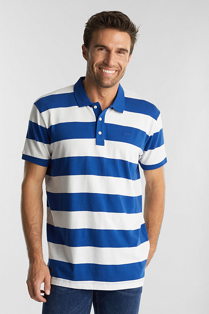 Striped jersey polo shirt in 100% organic cotton, INK, overview