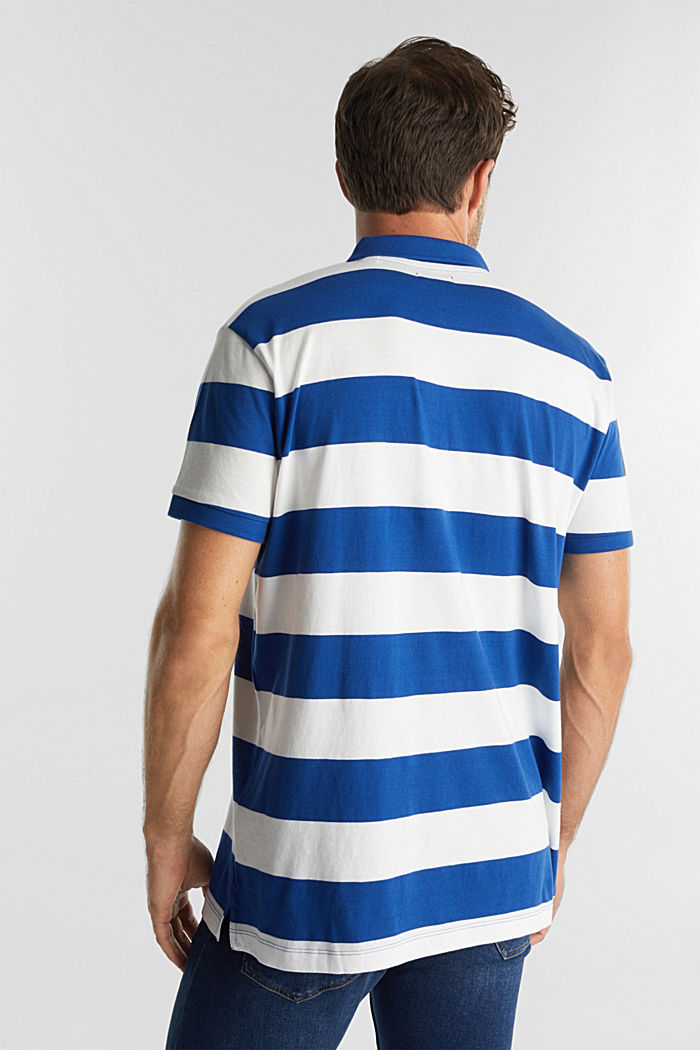 Striped jersey polo shirt in 100% organic cotton, INK, detail image number 3