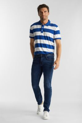 Striped jersey polo shirt in 100% organic cotton, INK, detail