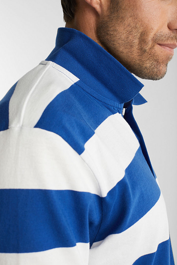 Striped jersey polo shirt in 100% organic cotton, INK, detail image number 1