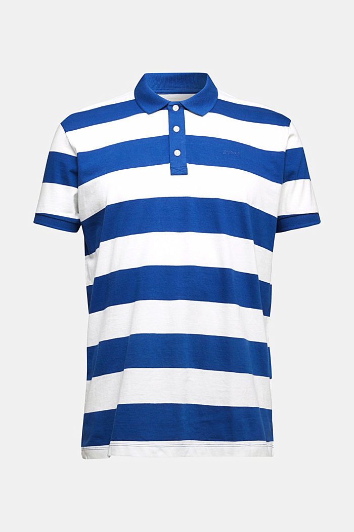 Striped jersey polo shirt in 100% organic cotton, INK, detail image number 5