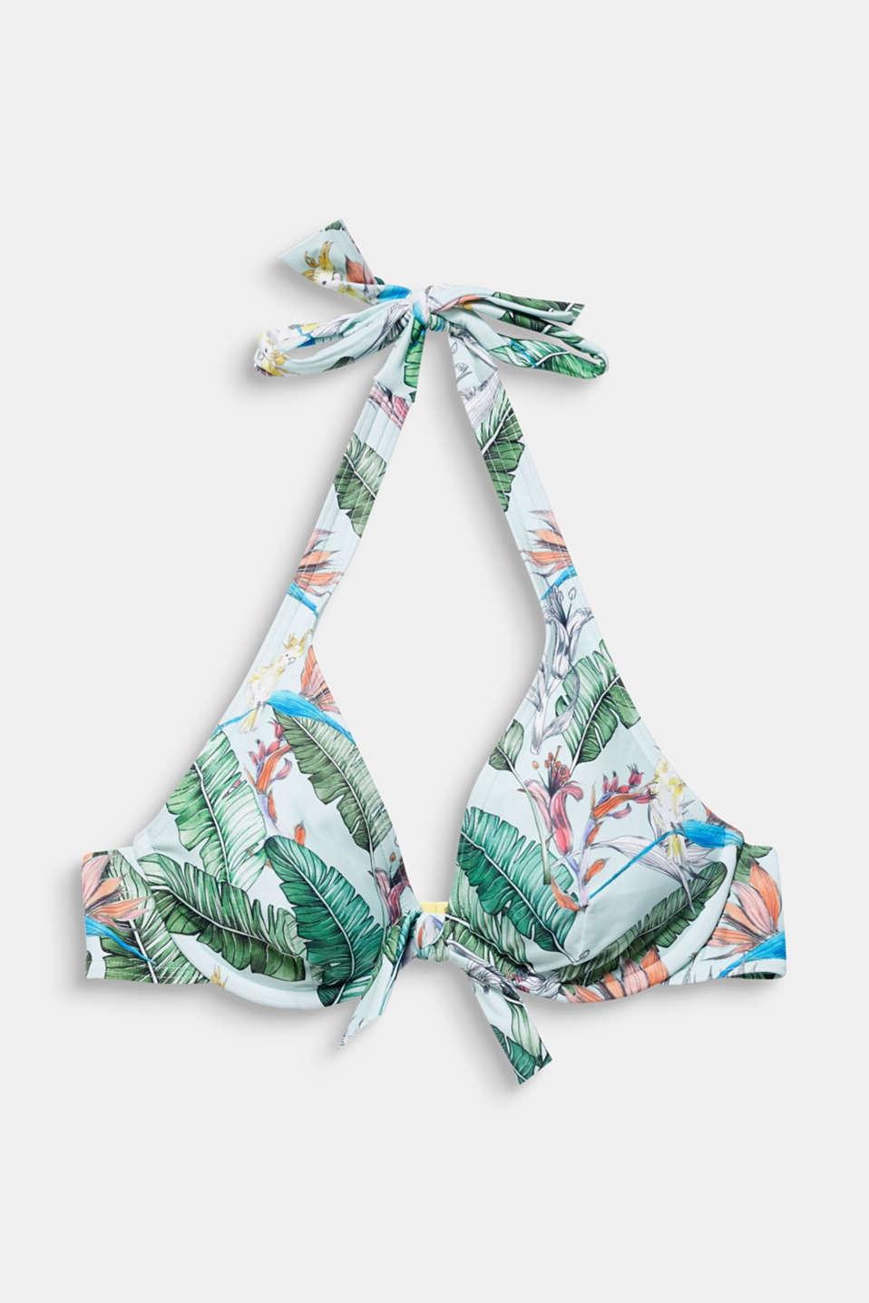 Printed, unpadded underwire bikini top, LIGHT AQUA GREEN, detail image number 4