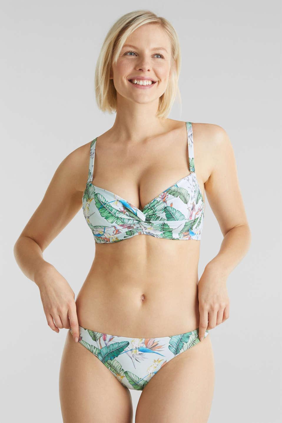 Printed, unpadded underwire bikini top, LIGHT AQUA GREEN, detail image number 2