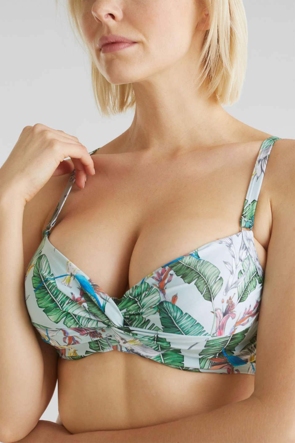 Printed, unpadded underwire bikini top, LIGHT AQUA GREEN, detail image number 3
