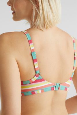Top with multi-coloured stripes, DUSTY GREEN, detail