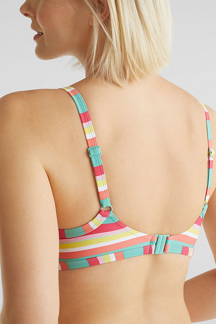 Top with multi-coloured stripes, DUSTY GREEN, detail image number 3