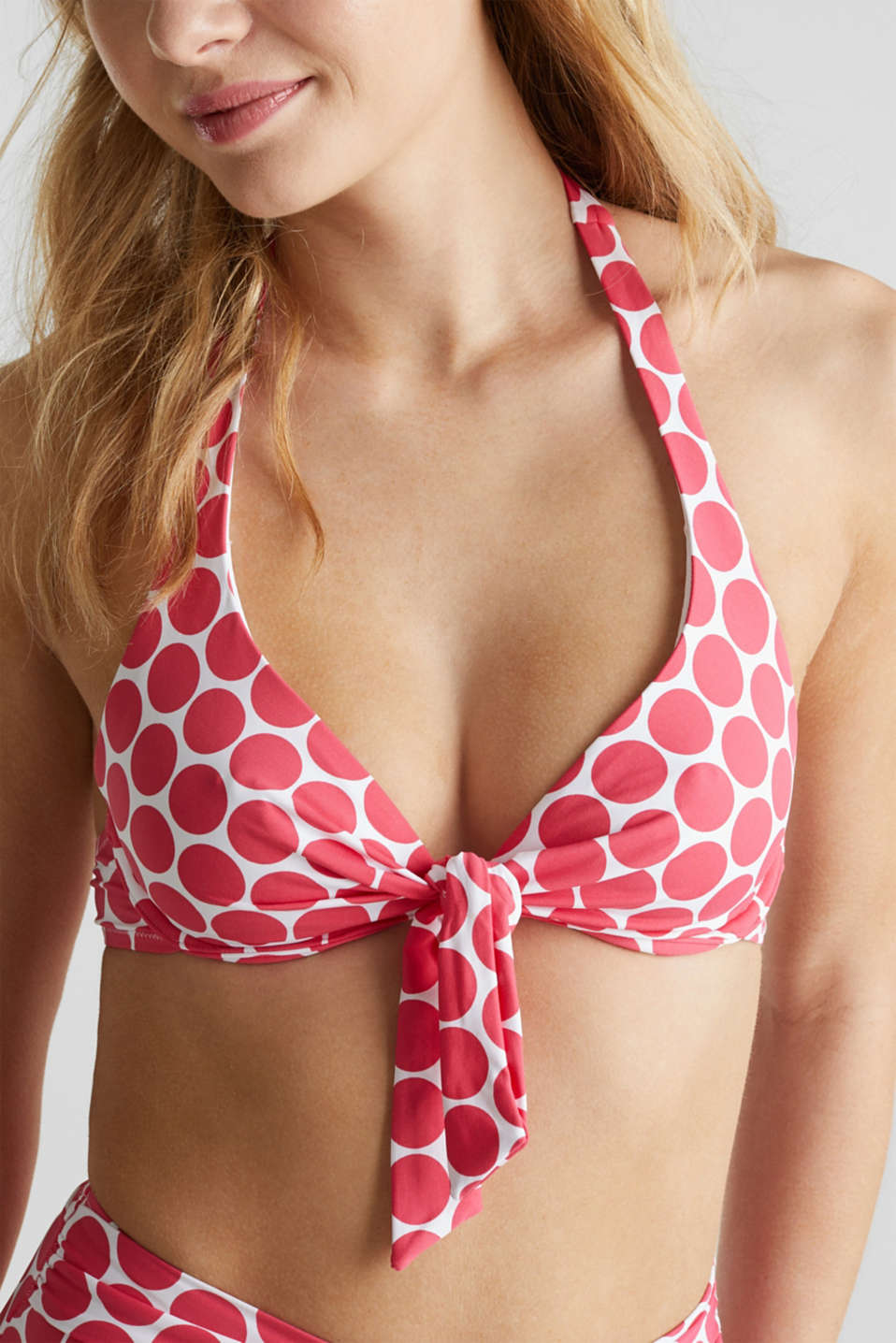 Unpadded underwire top with polka dots, BERRY RED, detail image number 2
