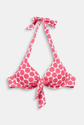 Unpadded underwire top with polka dots, BERRY RED, detail