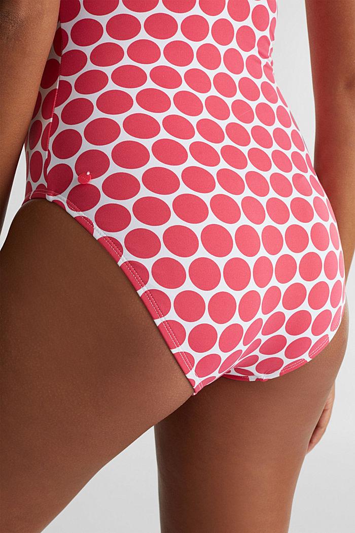Wattierter Badeanzug mit Tupfen, BERRY RED, detail image number 3