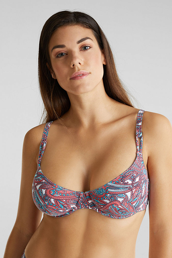 Printed, unpadded underwire bikini top, CORAL, detail image number 0