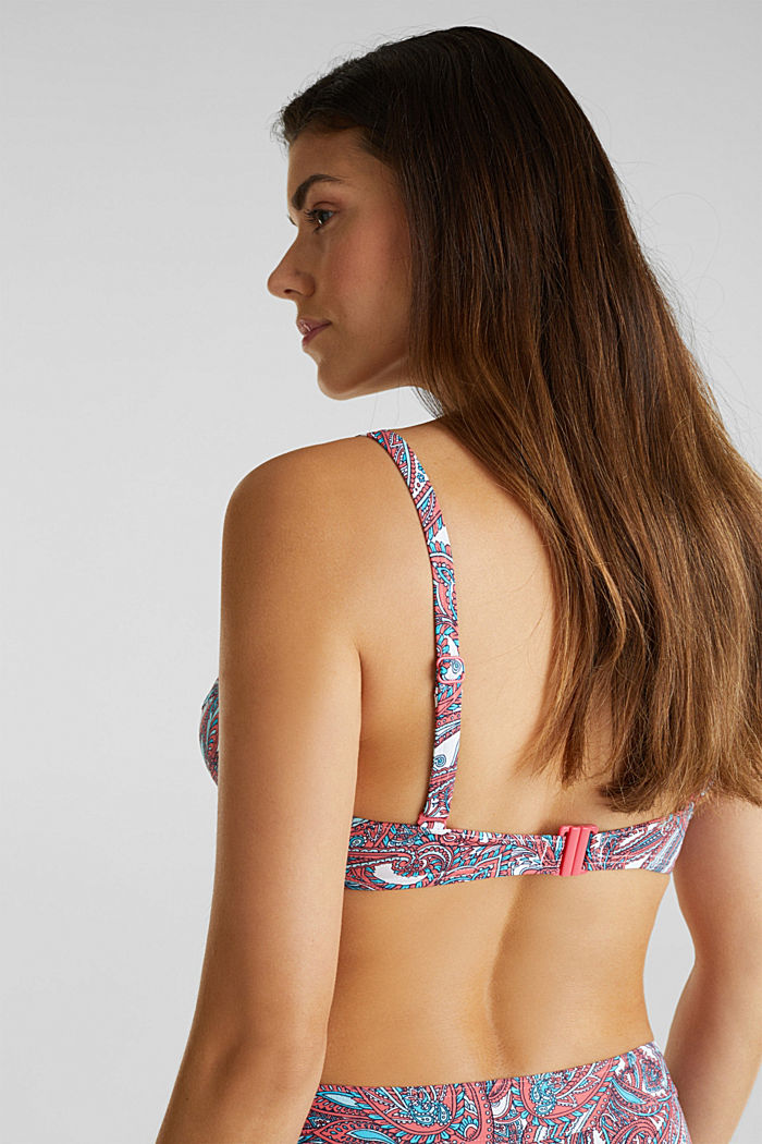 Printed, unpadded underwire bikini top, CORAL, detail image number 3