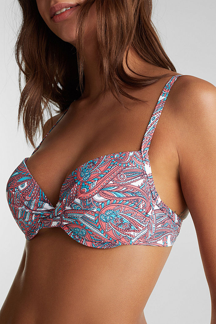 Printed, padded underwire bikini top, CORAL, detail image number 2