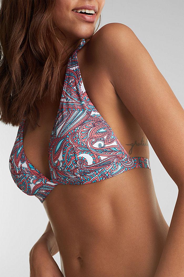 Printed, padded halterneck bikini top, CORAL, detail image number 2