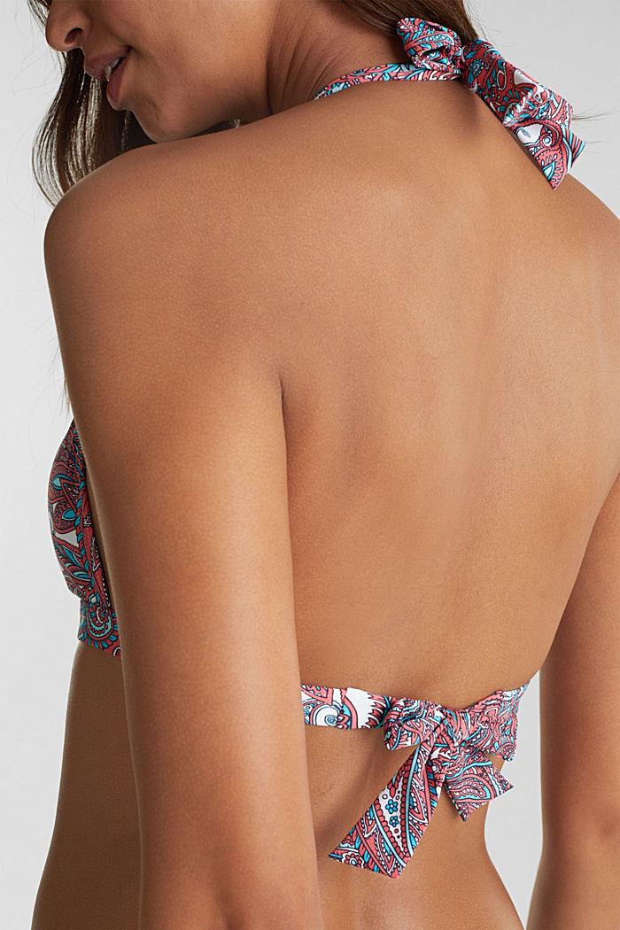 Printed, padded halterneck bikini top, CORAL, detail image number 3