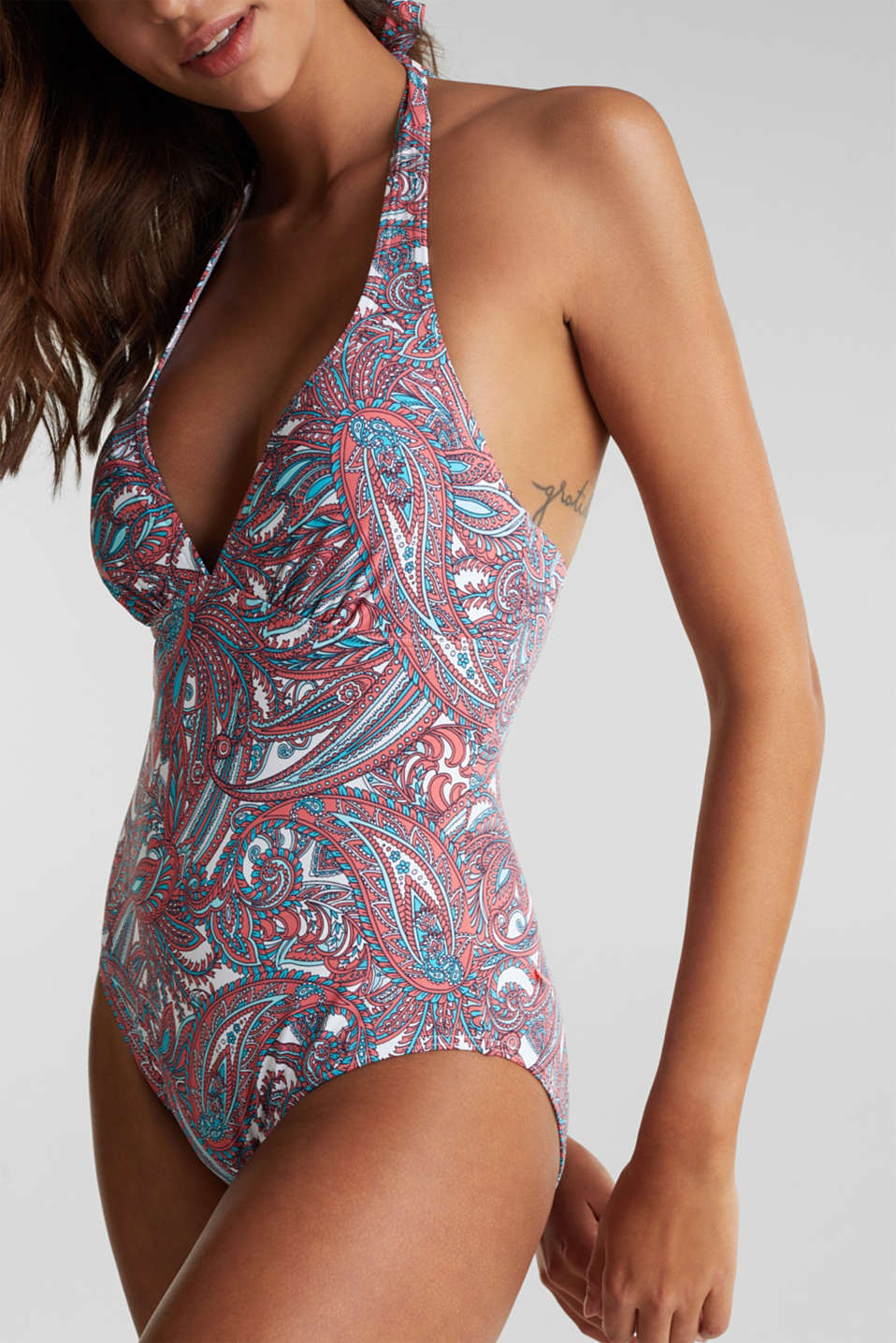Padded printed swimsuit, CORAL, detail image number 2