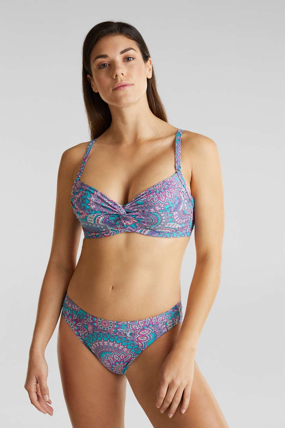 Printed, unpadded underwire bikini top, BLUE, detail image number 0