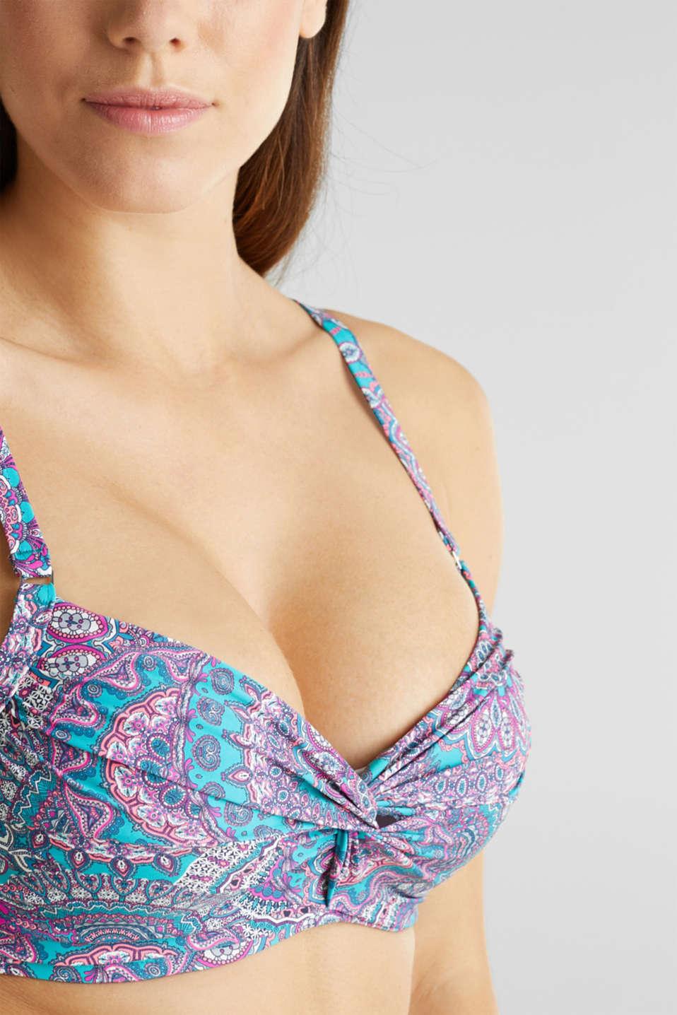 Printed, unpadded underwire bikini top, BLUE, detail image number 2