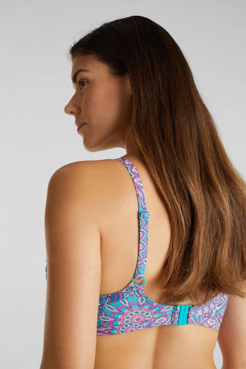 Printed, unpadded underwire bikini top, BLUE, detail image number 3