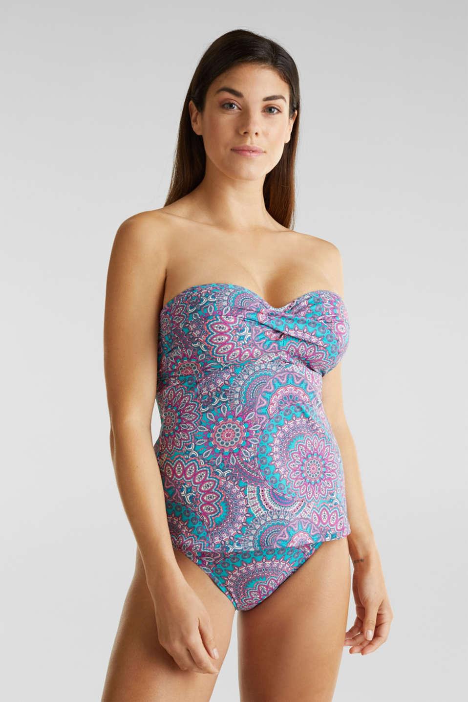 Printed padded bikini top, BLUE, detail image number 0