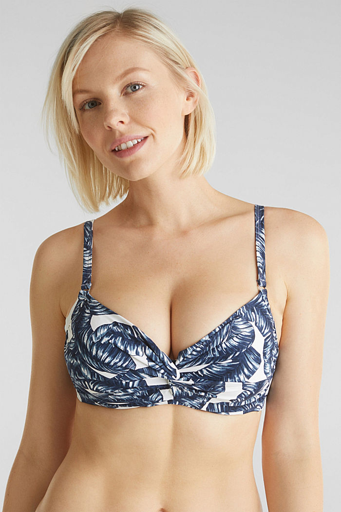 Printed, unpadded underwire bikini top, NAVY, detail image number 0