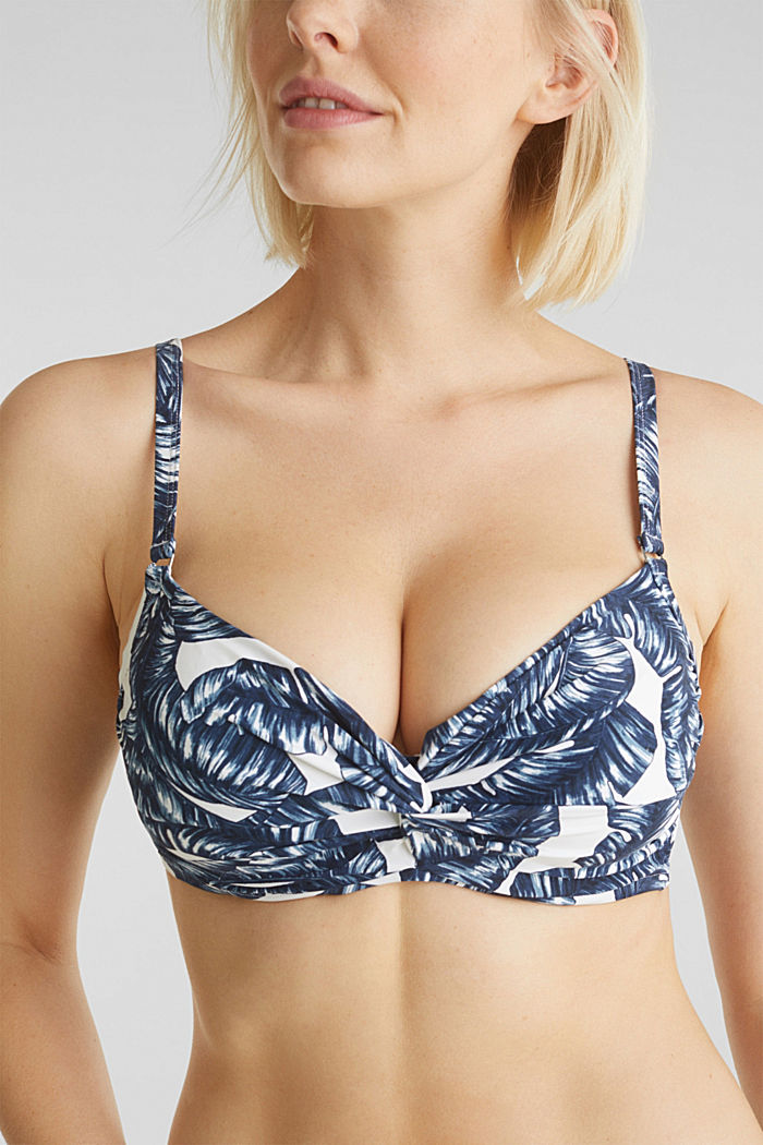 Printed, unpadded underwire bikini top, NAVY, detail image number 2