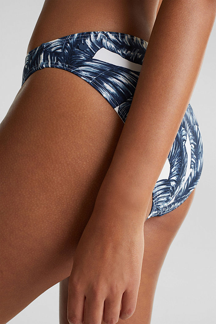 Mini briefs with a leaf print, NAVY, detail image number 1