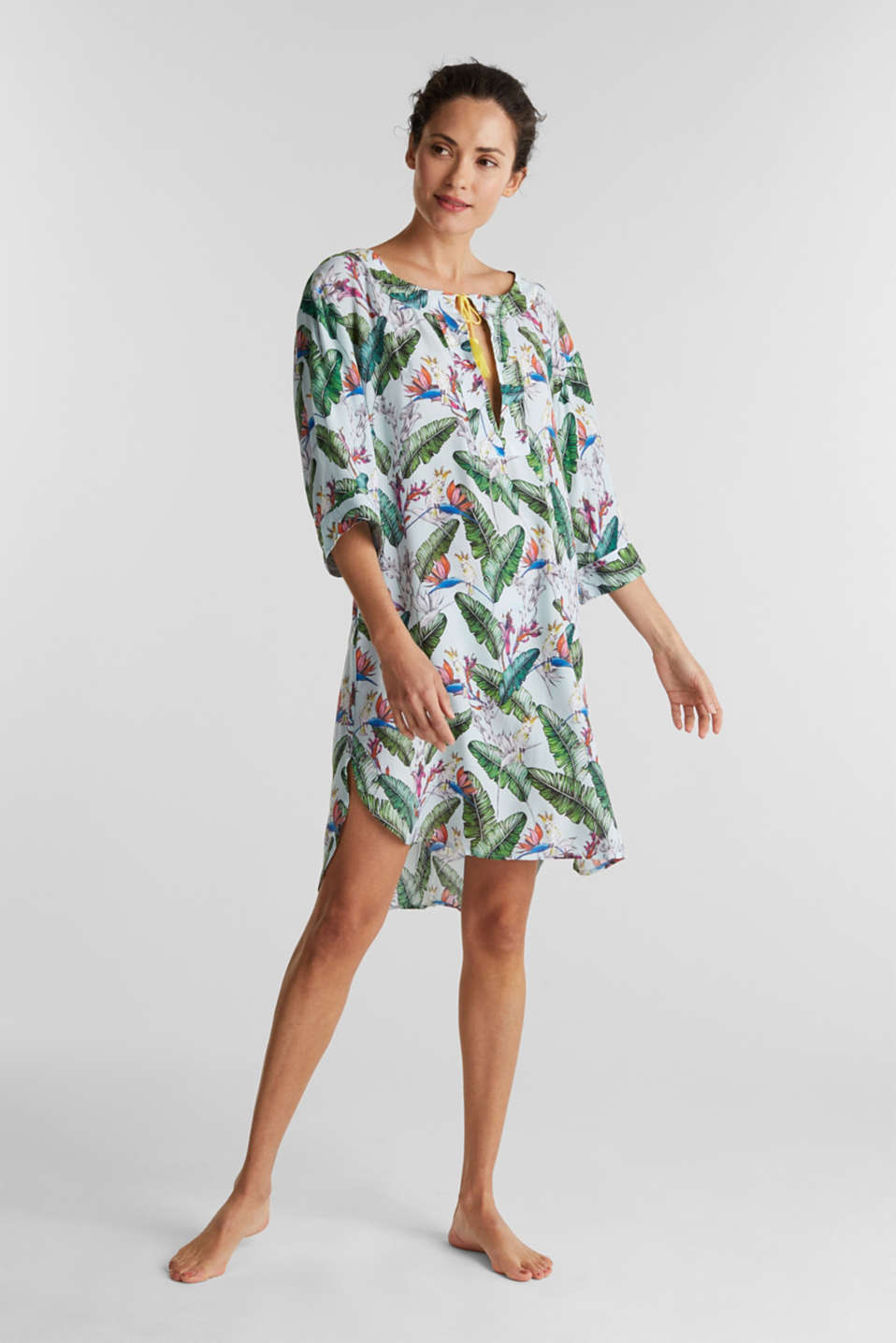 Tunic dress with a tropical print, LIGHT AQUA GREEN, detail image number 0