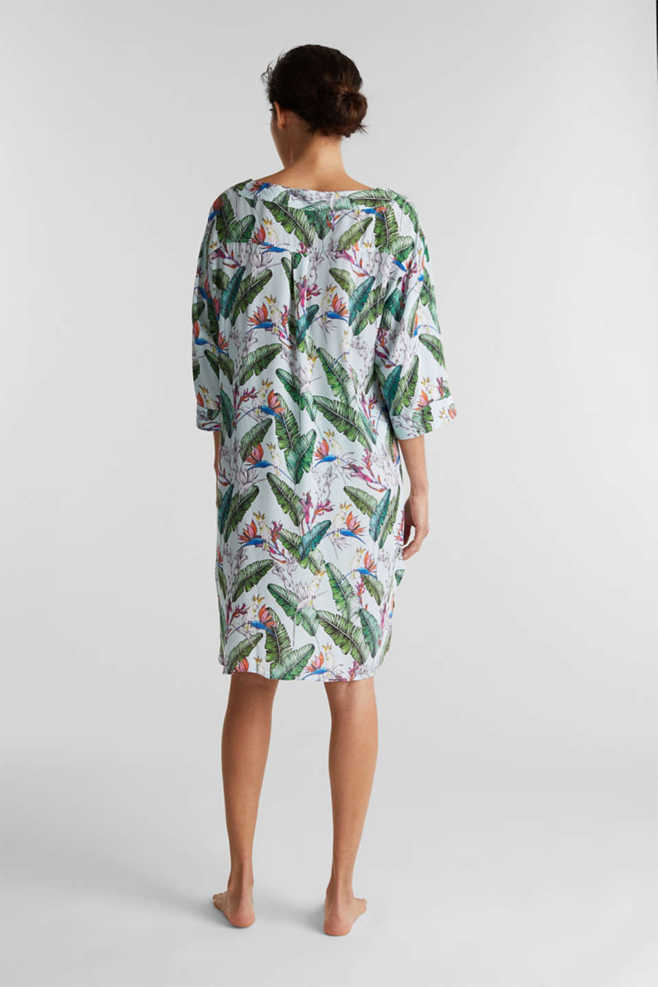 Tunic dress with a tropical print, LIGHT AQUA GREEN, detail image number 1