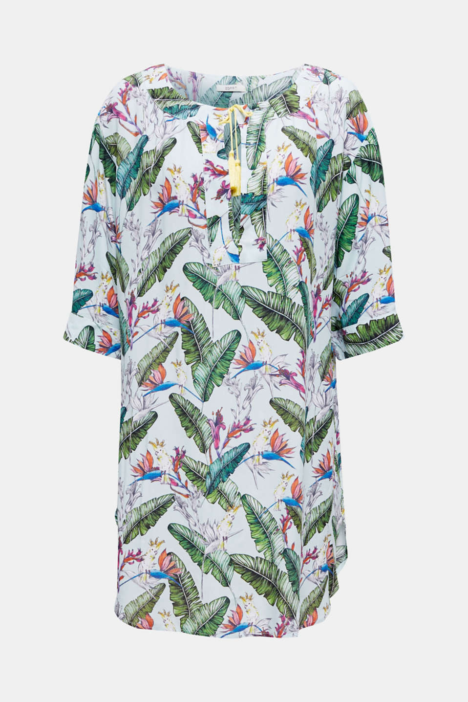 Tunic dress with a tropical print, LIGHT AQUA GREEN, detail image number 2