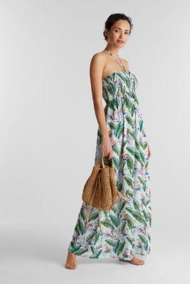 Smocked maxi dress with a print, LIGHT AQUA GREEN, detail