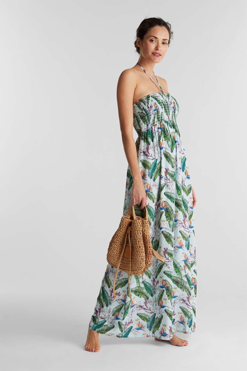 Esprit - Smocked maxi dress with a print