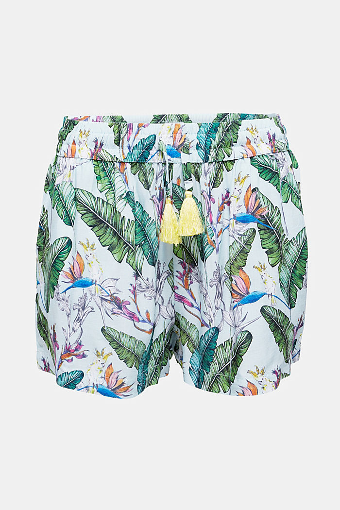 Shorts with a tropical print, LIGHT AQUA GREEN, detail image number 2