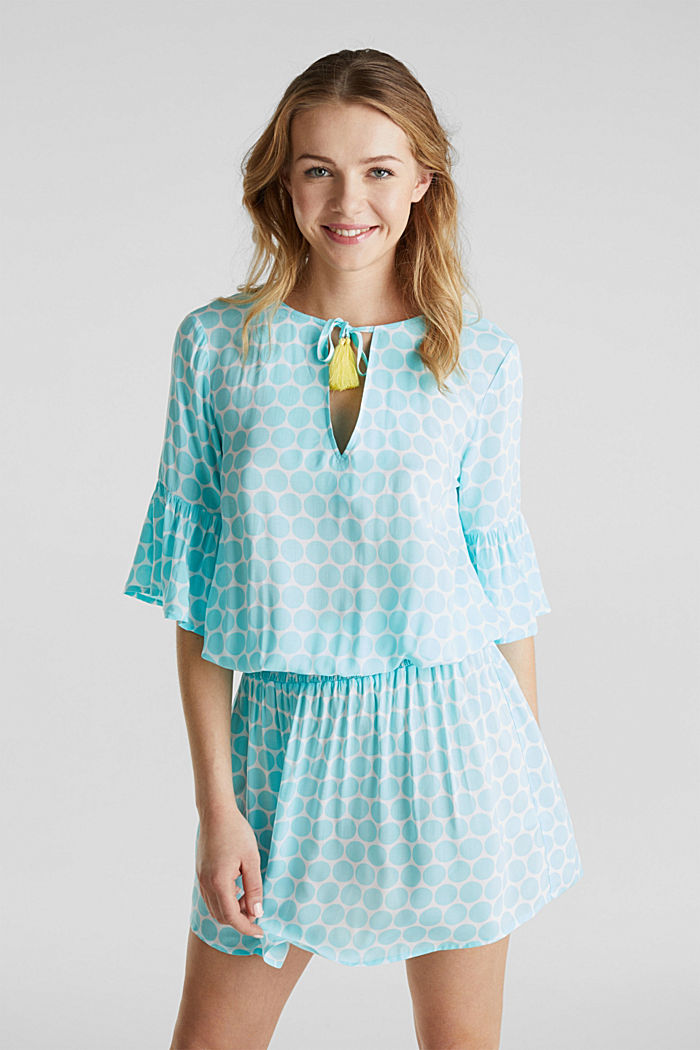 Tunika-Kleid mit Punkte-Print, LIGHT AQUA GREEN, detail image number 0