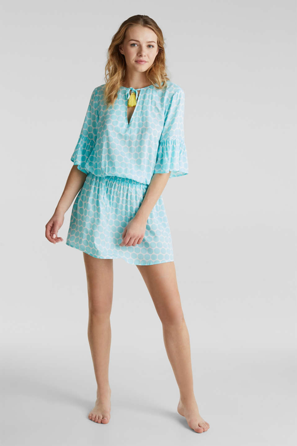 Tunic dress with a polka dot print, LIGHT AQUA GREEN, detail image number 2
