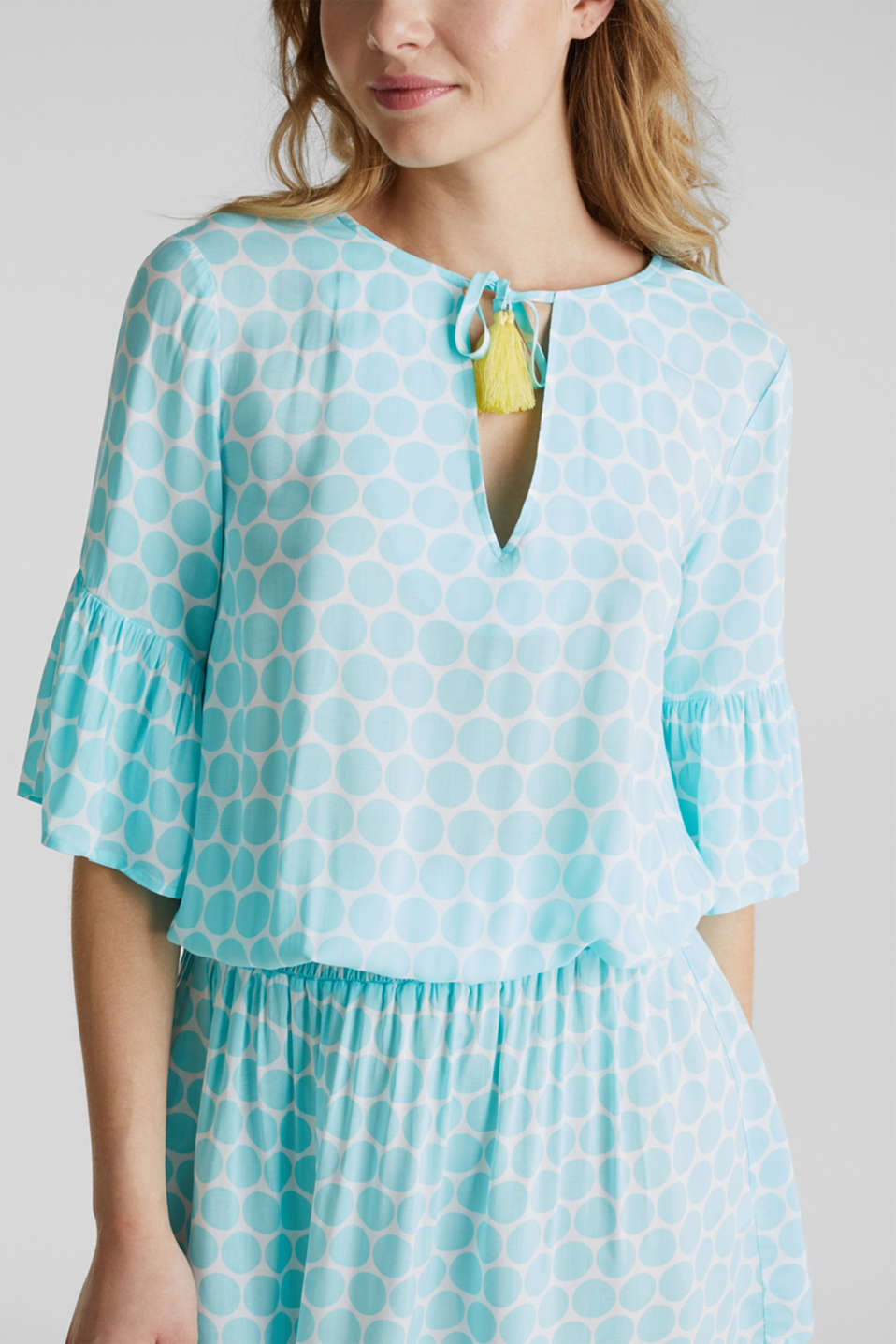 Tunic dress with a polka dot print, LIGHT AQUA GREEN, detail image number 4
