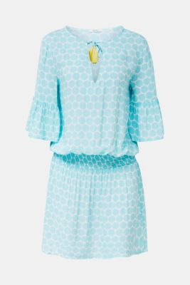 Tunic dress with a polka dot print, LIGHT AQUA GREEN, detail