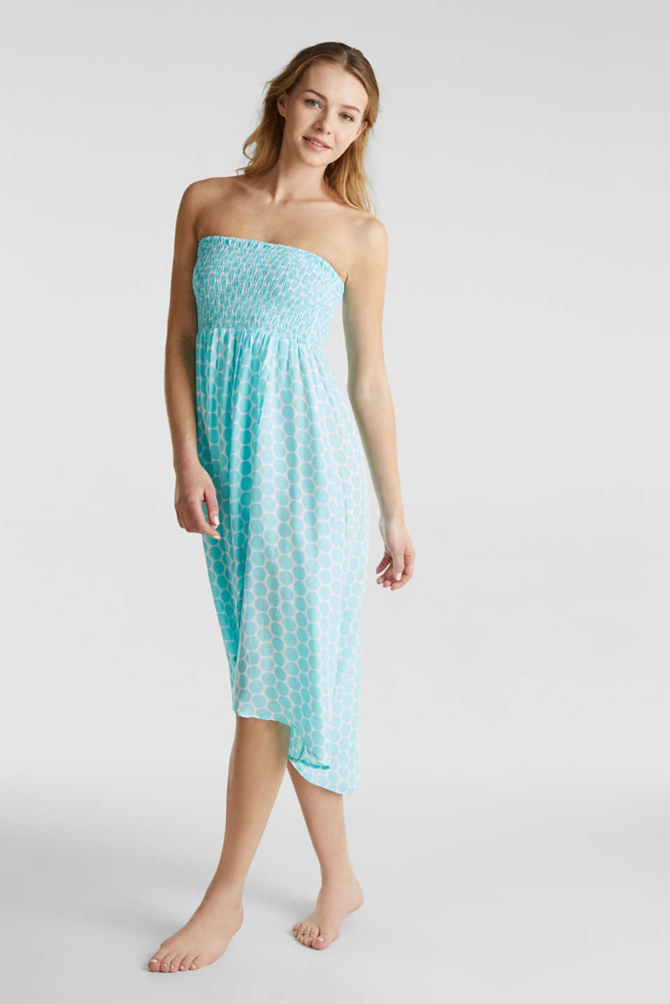 Beach dress with a smocked bustier, LIGHT AQUA GREEN, detail image number 0
