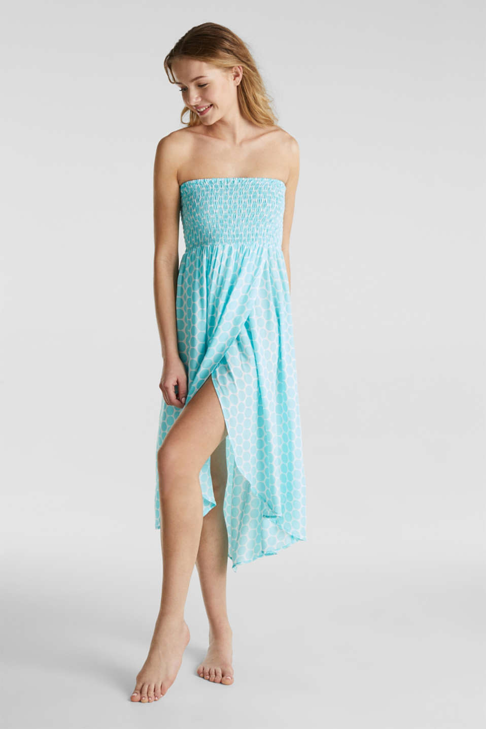 Beach dress with a smocked bustier, LIGHT AQUA GREEN, detail image number 2