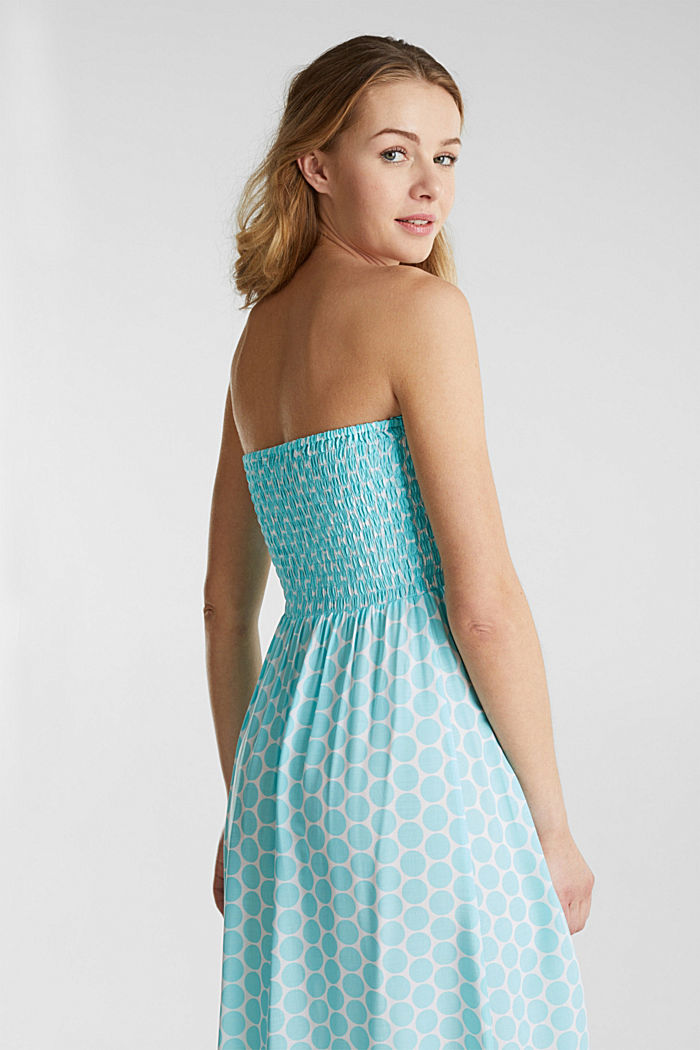Beach dress with a smocked bustier, LIGHT AQUA GREEN, detail image number 4