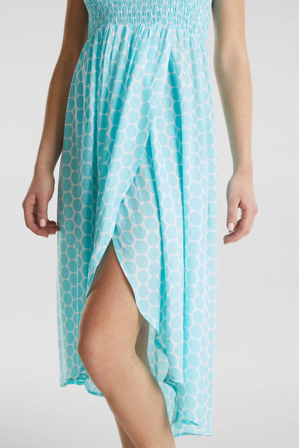 Beach dress with a smocked bustier, LIGHT AQUA GREEN, detail image number 6